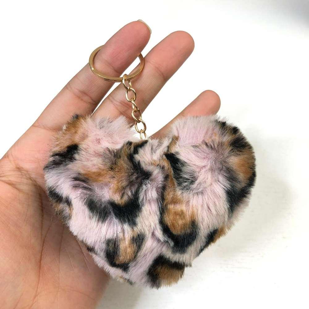 Chaveiro Pompom Coração de Oncinha Leopard Rosa
