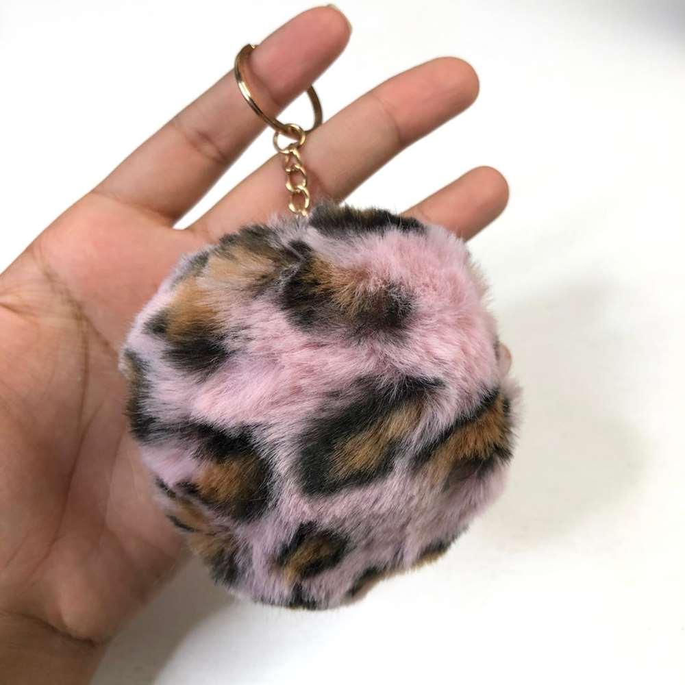 Chaveiro Pompom de Oncinha Leopard Rosa