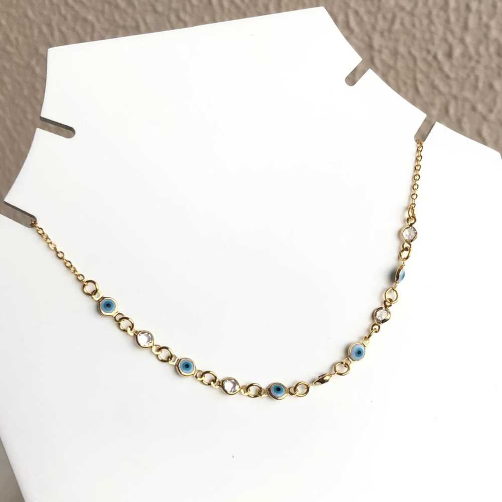 Colar choker folheado a ouro feminino olho grego e cristais prata