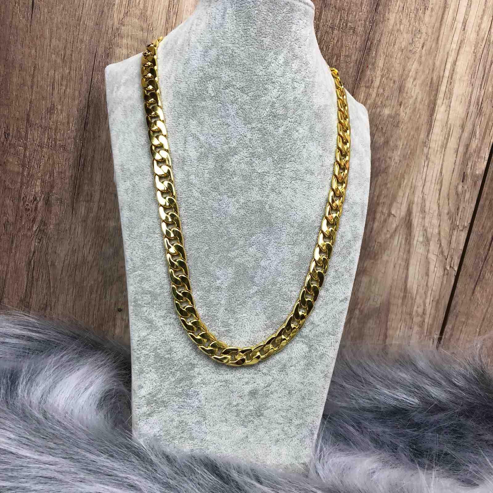 18dc30e1b6254 Colar Corrente Masculina Grossa Dourada Bijoux 11mm - Diamante Rosa ...