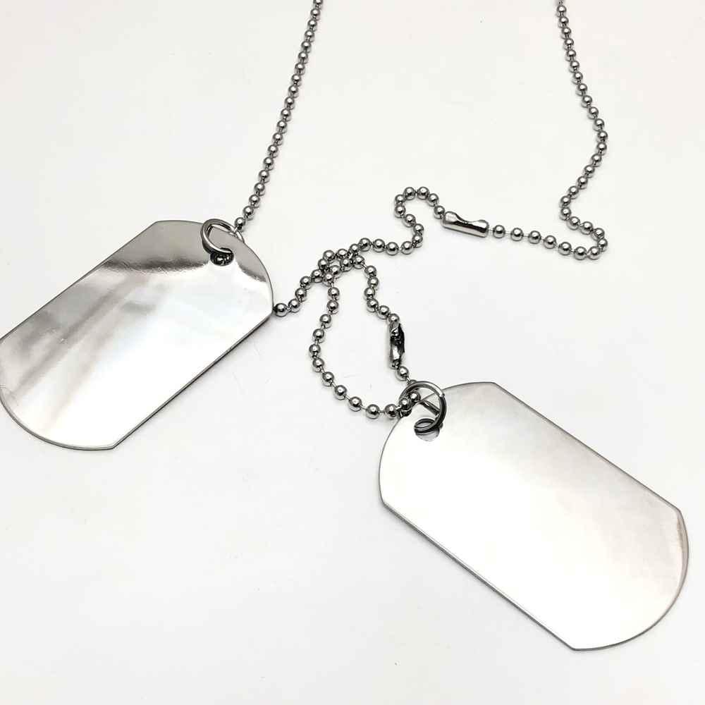 Colar corrente masculino militar identificação placa tag lisa aço inoxidável Tam M