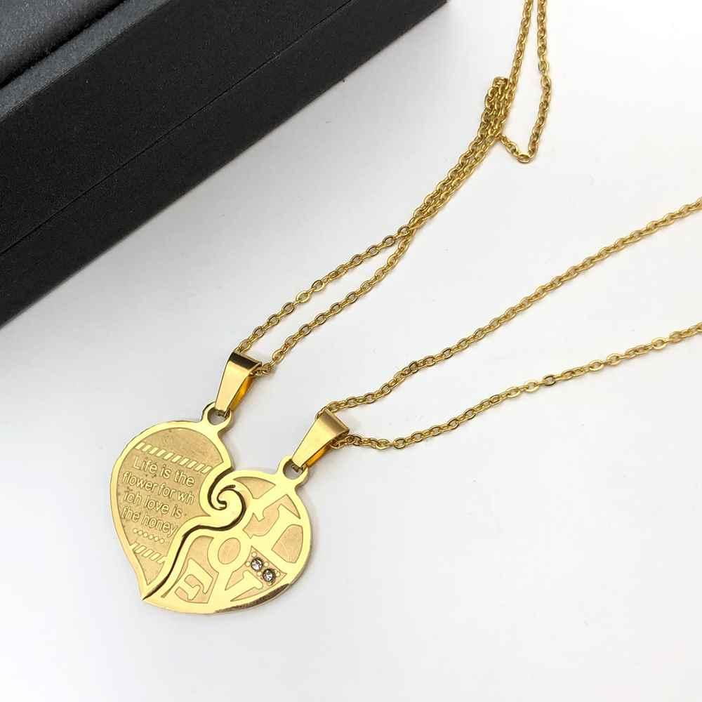 Colar da amizade 2 partes em aço inoxidável dourado colar da amizade coração ponto de luz