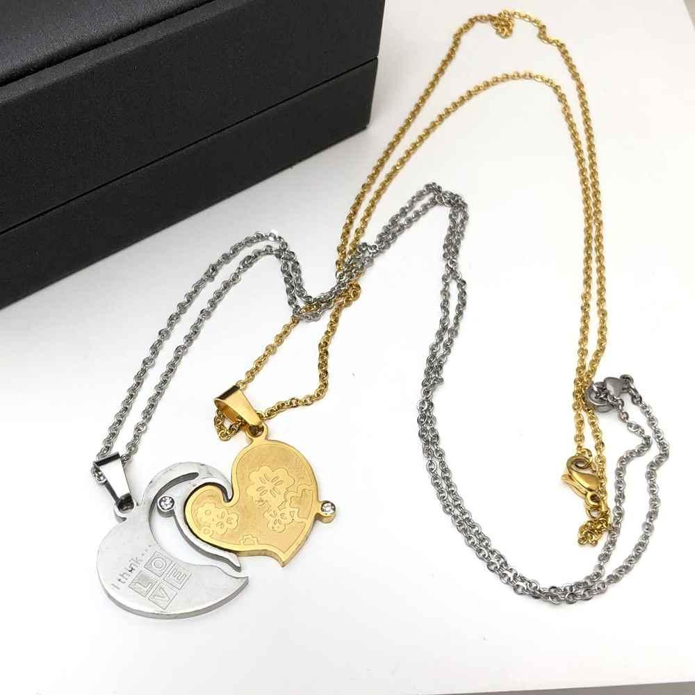 Colar da amizade 2 partes em aço inoxidável dourado e prata colar da amizade coração ponto de luz