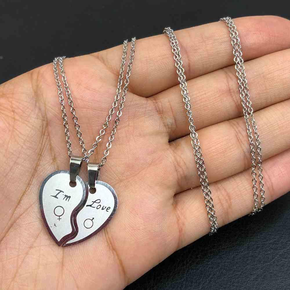 Colar da amizade 2 partes em aço inoxidável prata colar da amizade coração