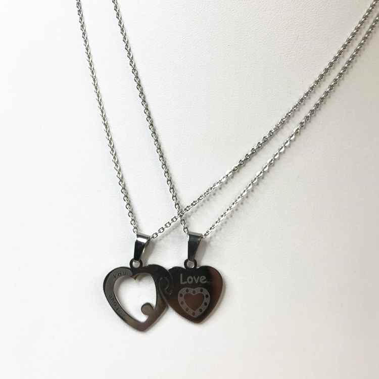 Colar da amizade 2 partes em aço inoxidável prata colar da amizade coração e chave