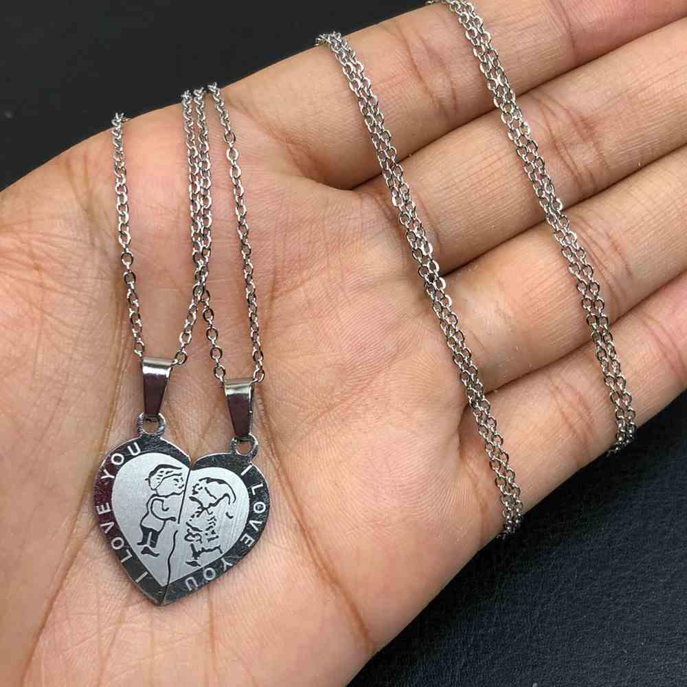 Colar da amizade 2 partes em aço inoxidável prata colar da amizade coração gnomos