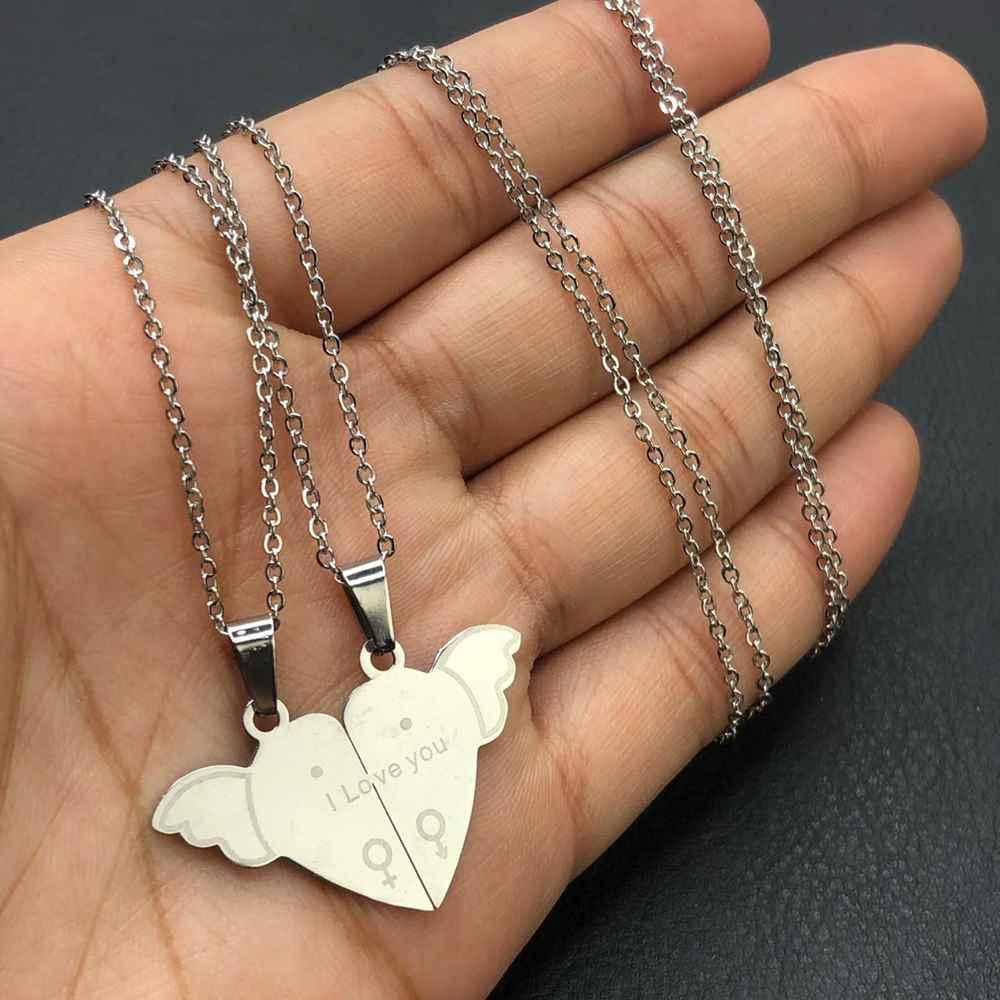 Colar da amizade 2 partes em aço inoxidável prata colar da amizade coração I Love You