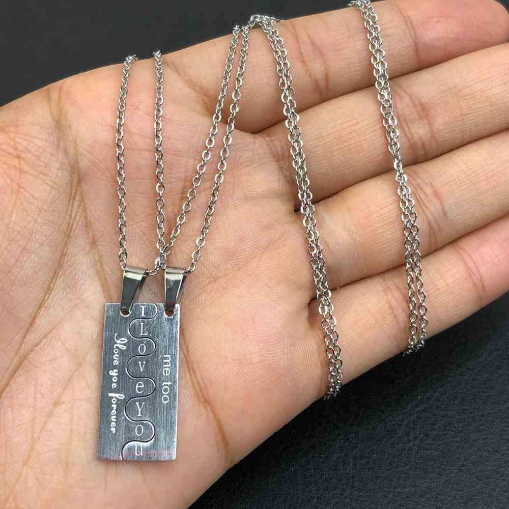 Colar da amizade 2 partes em aço inoxidável prata colar da amizade quebra cabeça