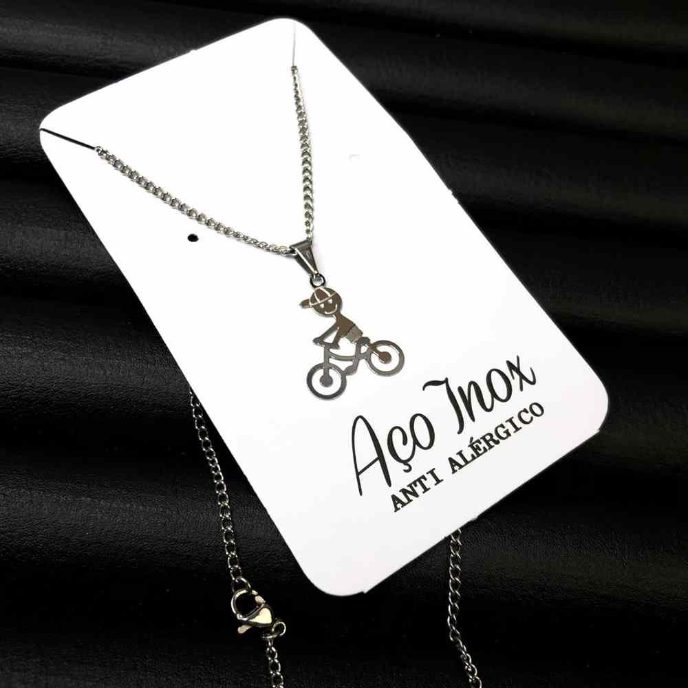 """Colar em aço inoxidável colar pingente filho """"um menino"""" bicicleta"""