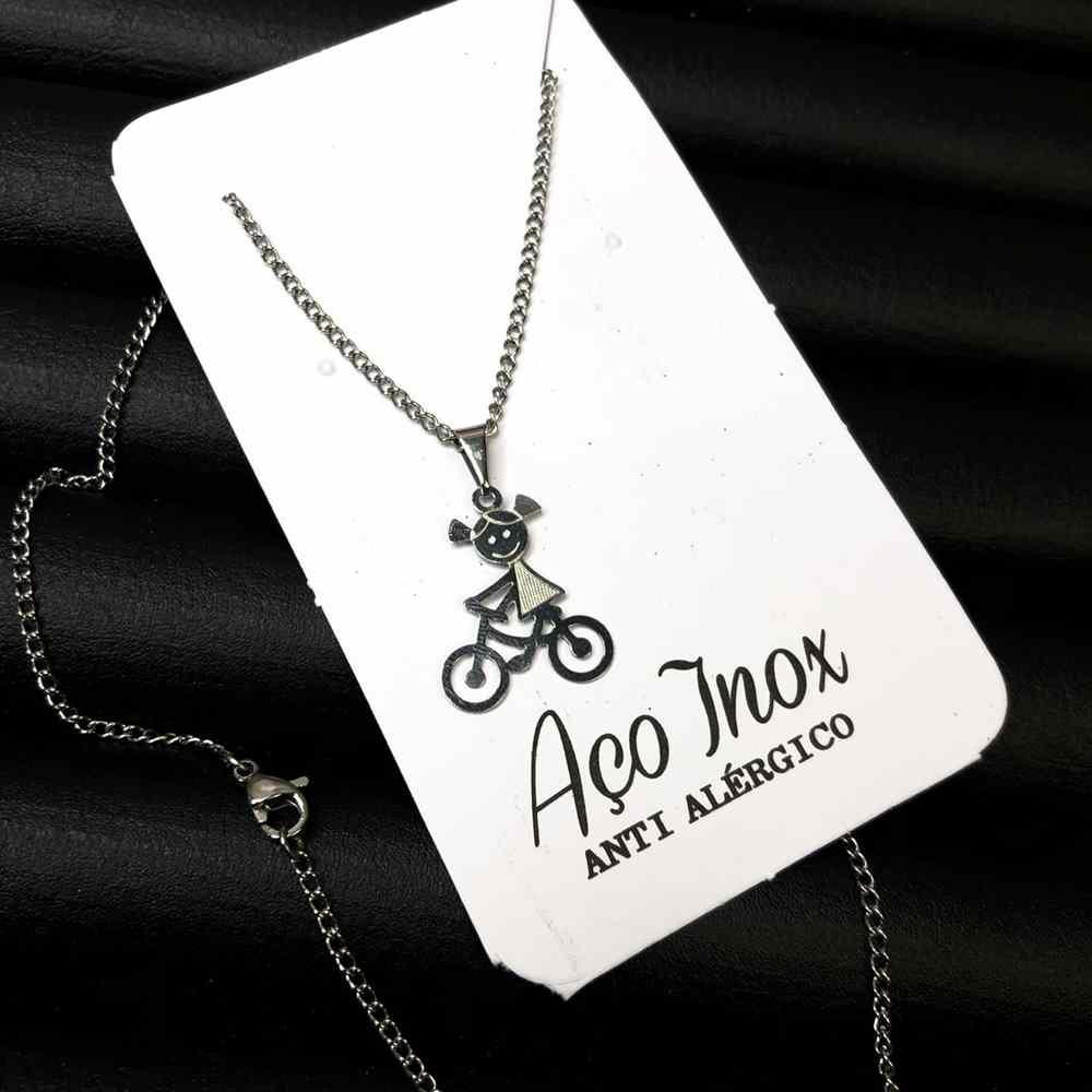 """Colar em aço inoxidável colar pingente filho """"uma menina"""" bicicleta"""