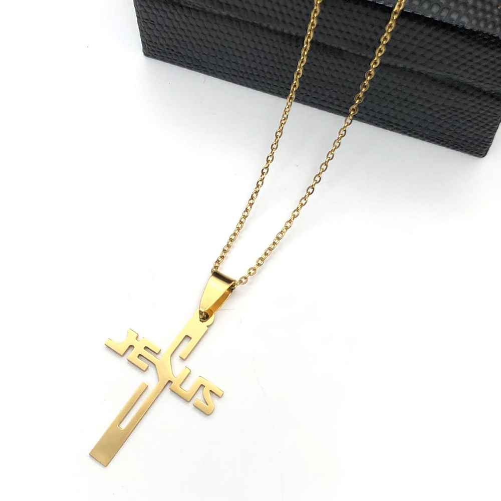 Colar em aço inoxidável dourado banhado pingente cruz com nome Jesus
