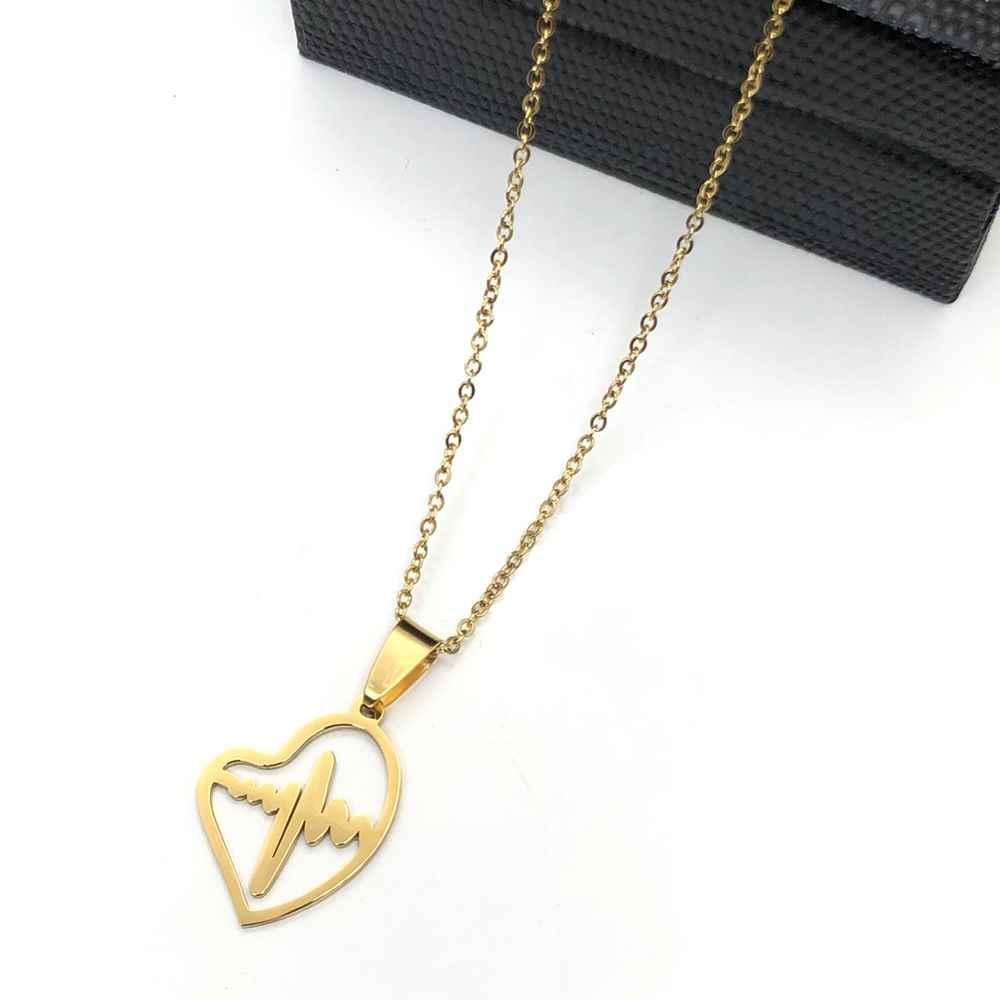 Colar em aço inoxidável dourado feminino pingente coração e batimentos