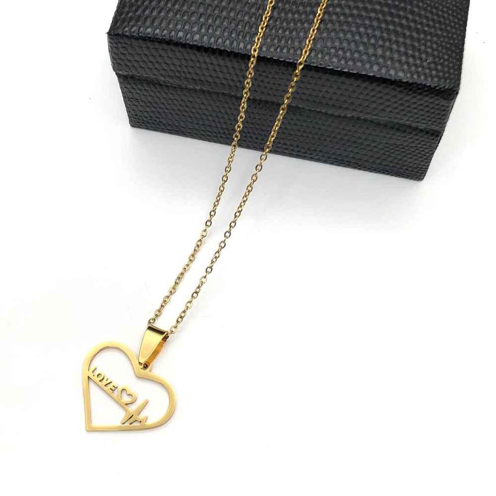 Colar em aço inoxidável dourado feminino pingente coração e batimentos love