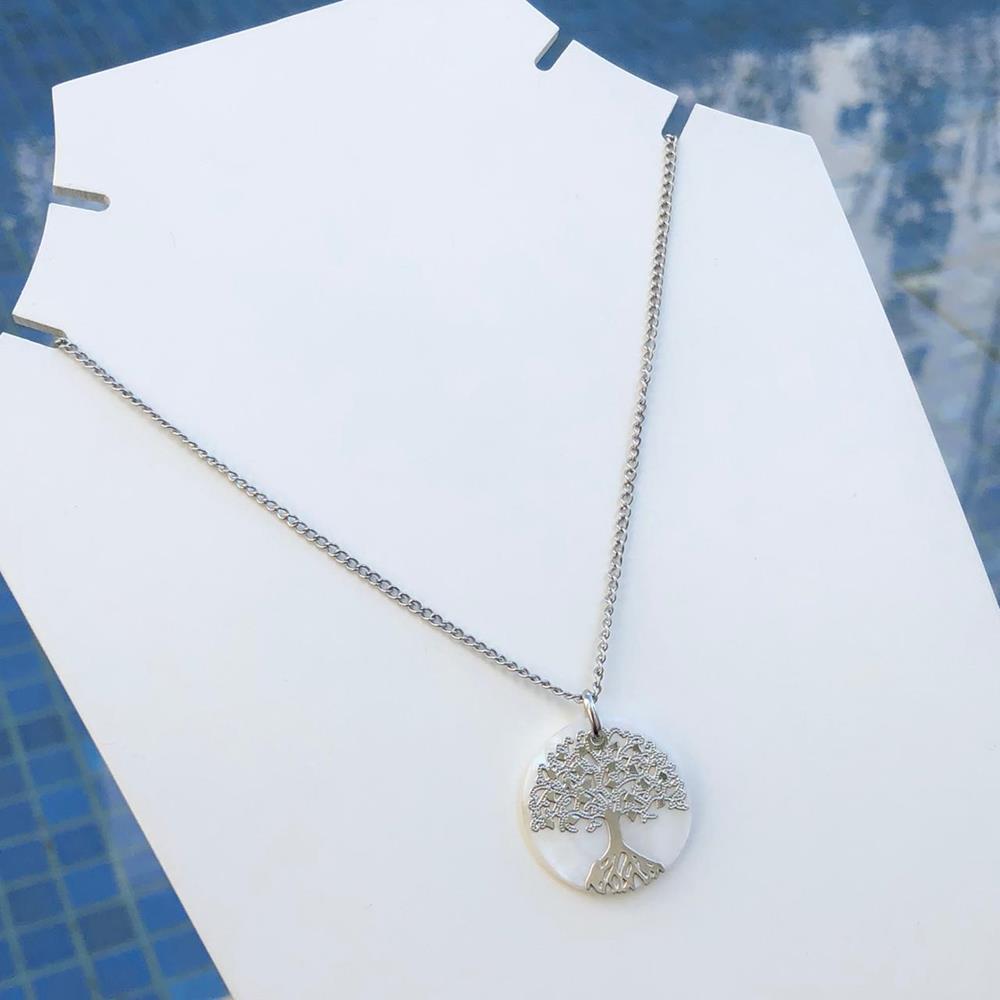 Colar em aço inoxidável prata feminino Árvore da vida em madrepérola