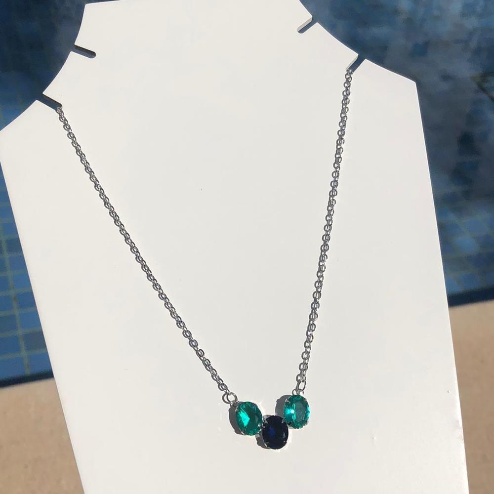 Colar em aço inoxidável prata feminino pedrarias oval azul marinho e verde água