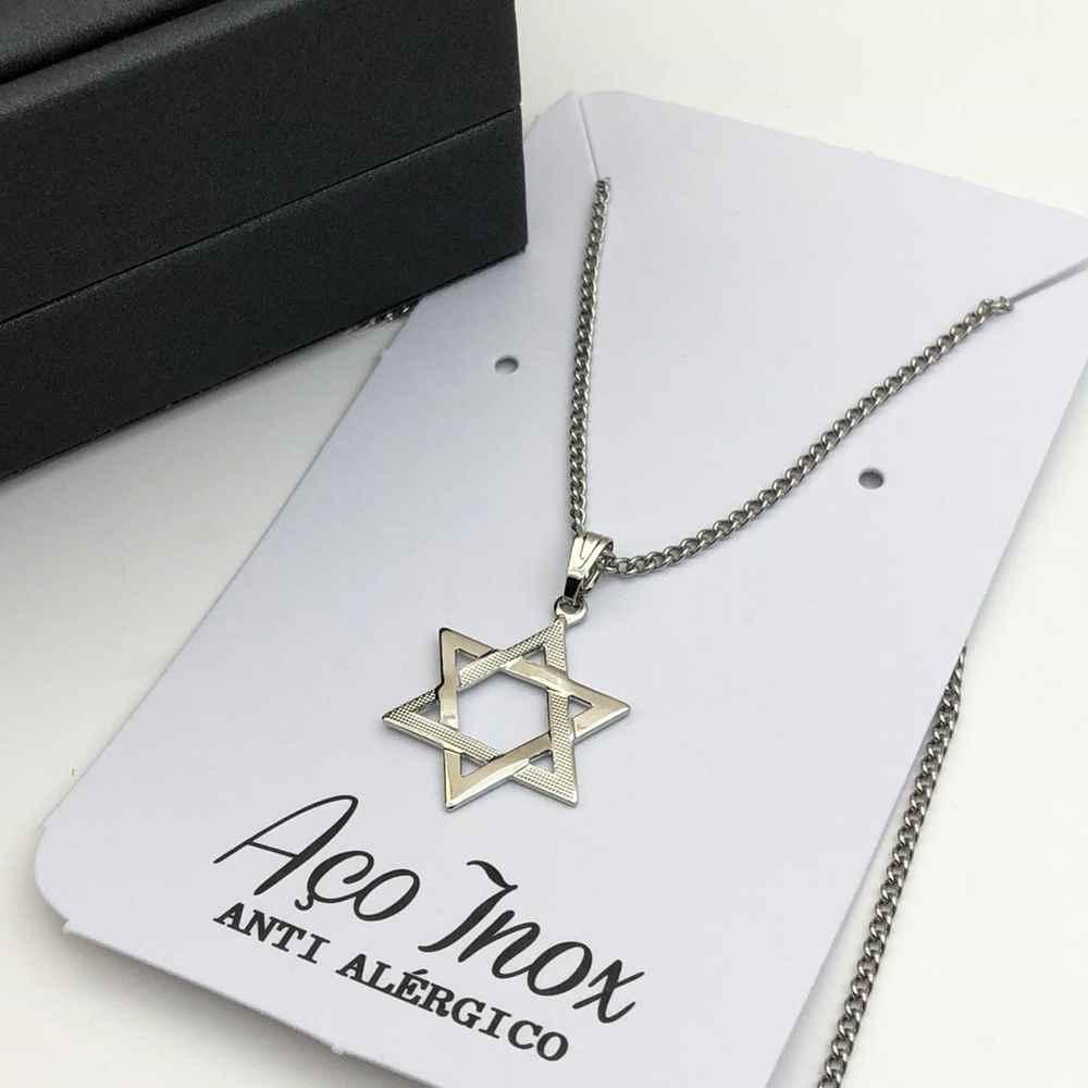 Colar em aço inoxidável prata pingente estrela de Davi
