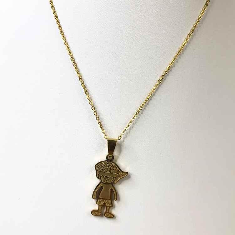 Colar feminino dourado em aço inoxidável colar pingente filho um menino