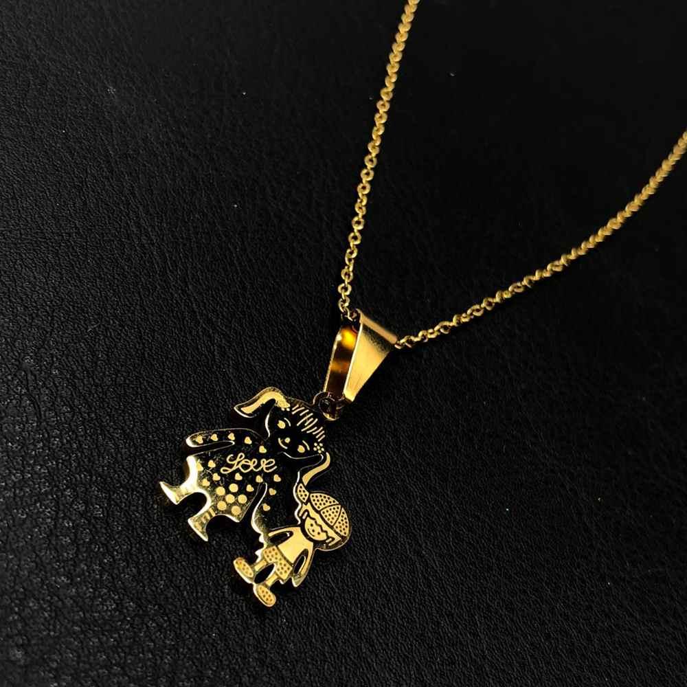 Colar feminino dourado em aço inoxidável pingente mãe e filho