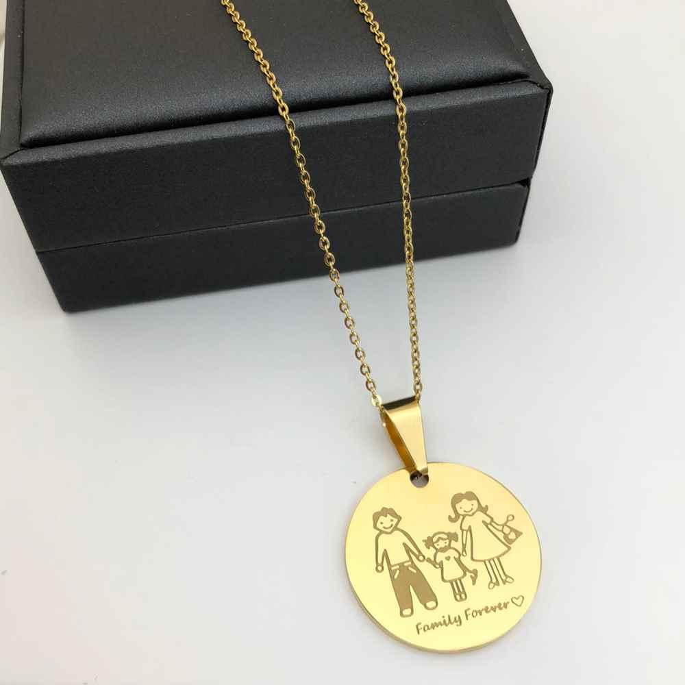 Colar feminino dourado em aço inoxidável pingente mandala familia pai, mãe e filha