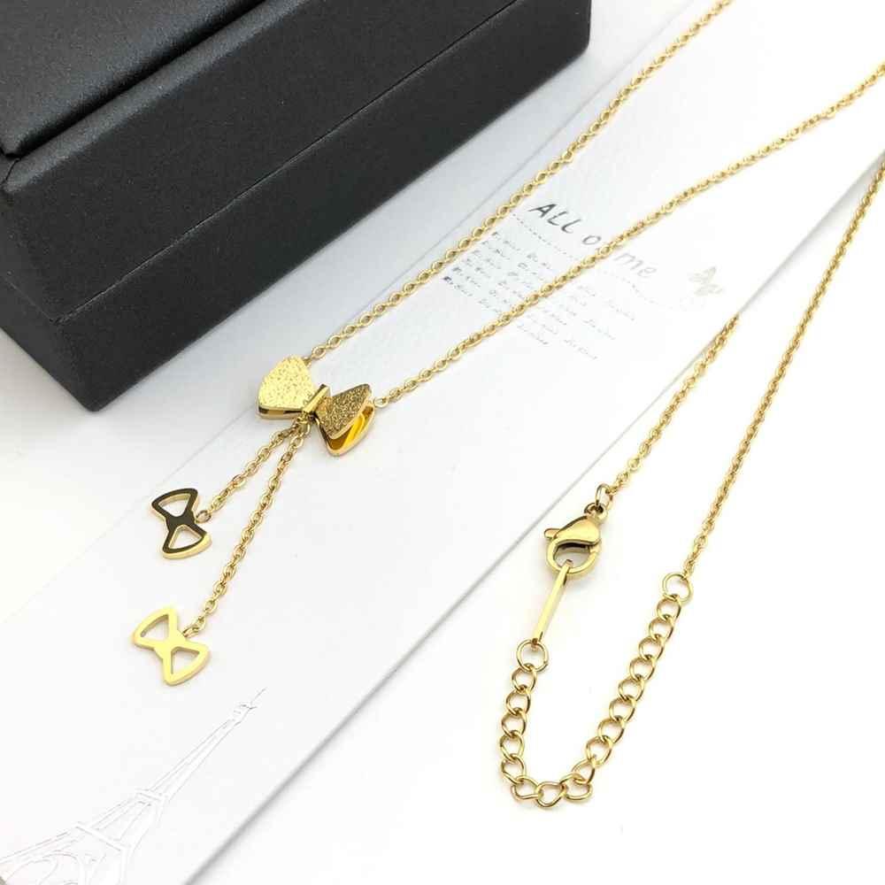 Colar feminino dourado em aço inoxidável pingentes lacinho estilo gravatinha