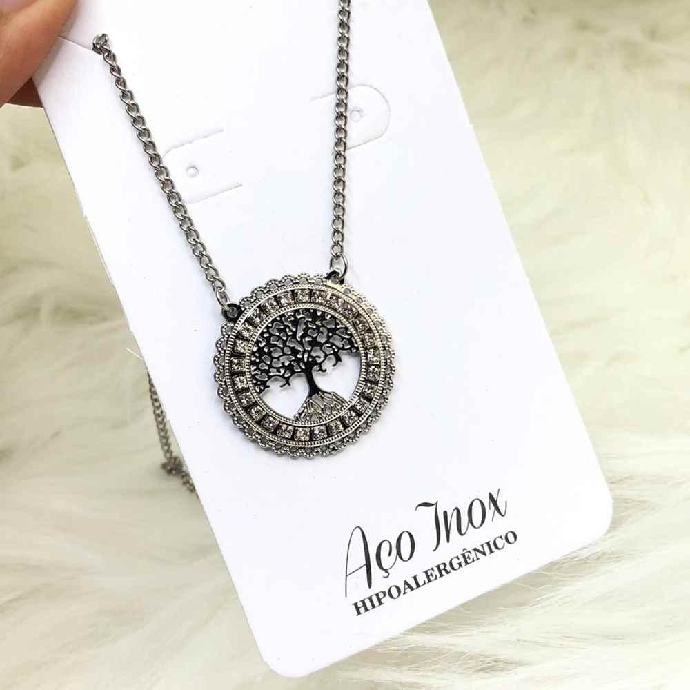 Colar feminino em aço inoxidável prata com mandala cravejada árvore da vida