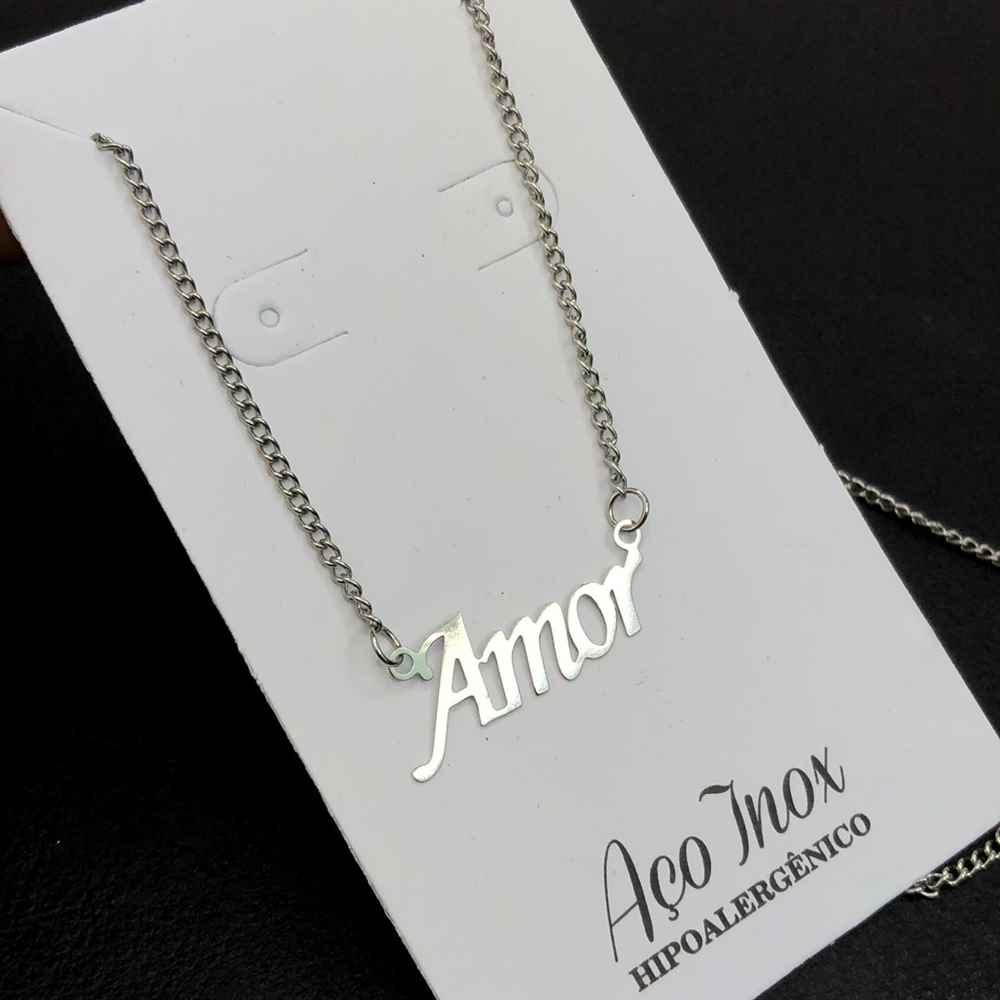 Colar feminino prata em aço inoxidável AMOR