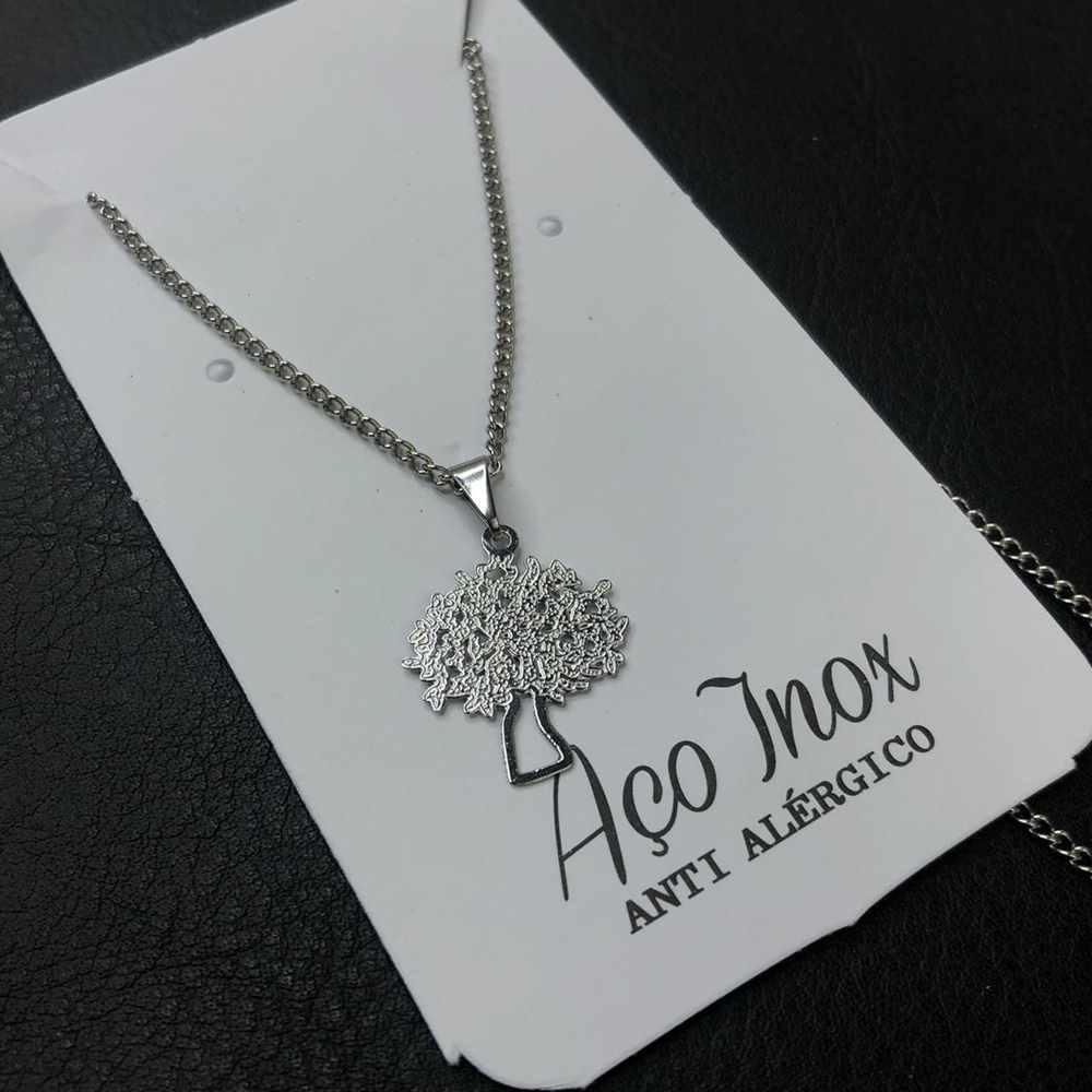 Colar feminino prata em aço inoxidável árvore da vida