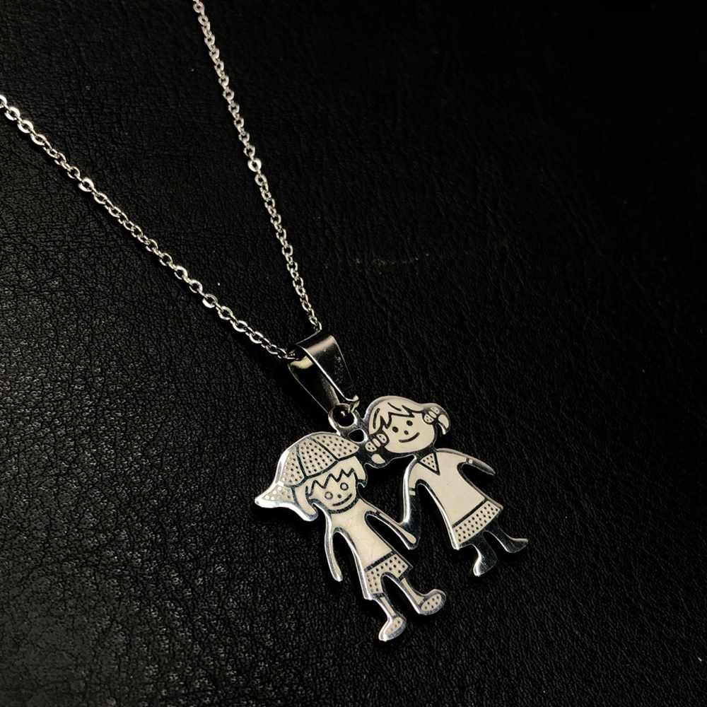Colar feminino prata em aço inoxidável casal, menino e menina