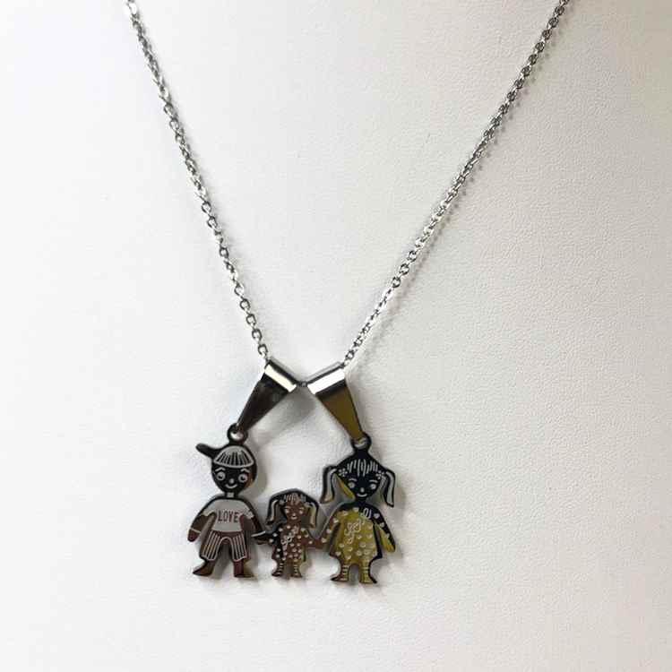 Colar feminino prata em aço inoxidável colar familia pai, mãe e filha