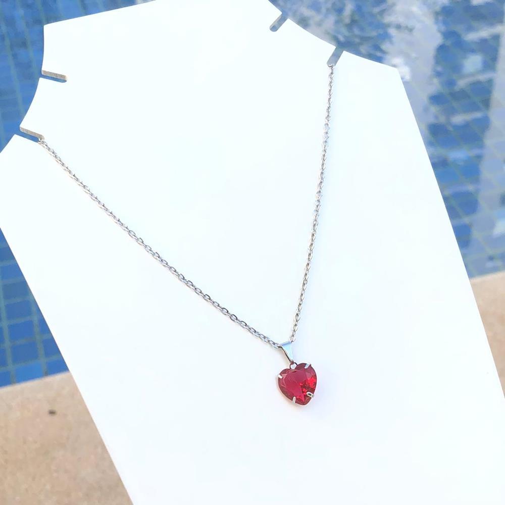 Colar feminino prata em aço inoxidável pedra coração vermelho rubi