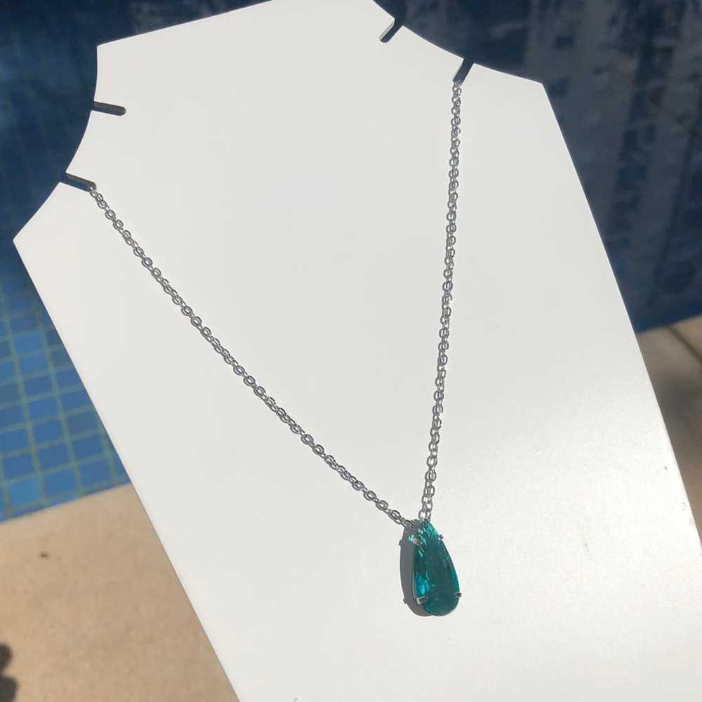 Colar feminino prata em aço inoxidável pedra gotinha azul água