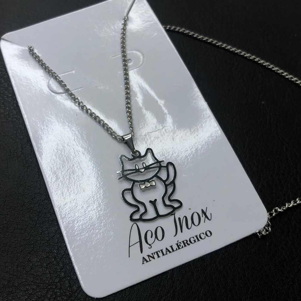 Colar feminino prata em aço inoxidável pet gato