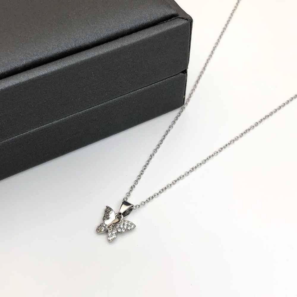 Colar feminino prata em aço inoxidável pingente borboleta borboletinha cravejada