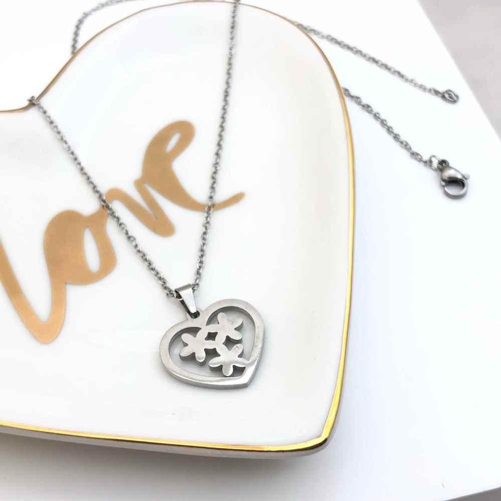 Colar feminino prata em aço inoxidável pingente coração com flores
