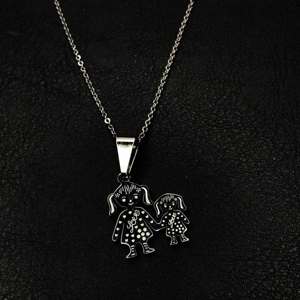 Colar feminino prata em aço inoxidável pingente mãe e filha