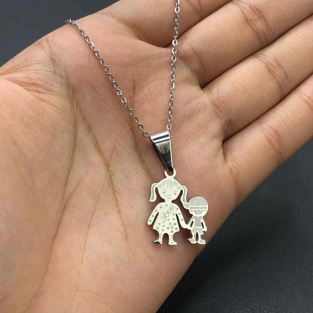 Colar feminino prata em aço inoxidável pingente mãe e filho