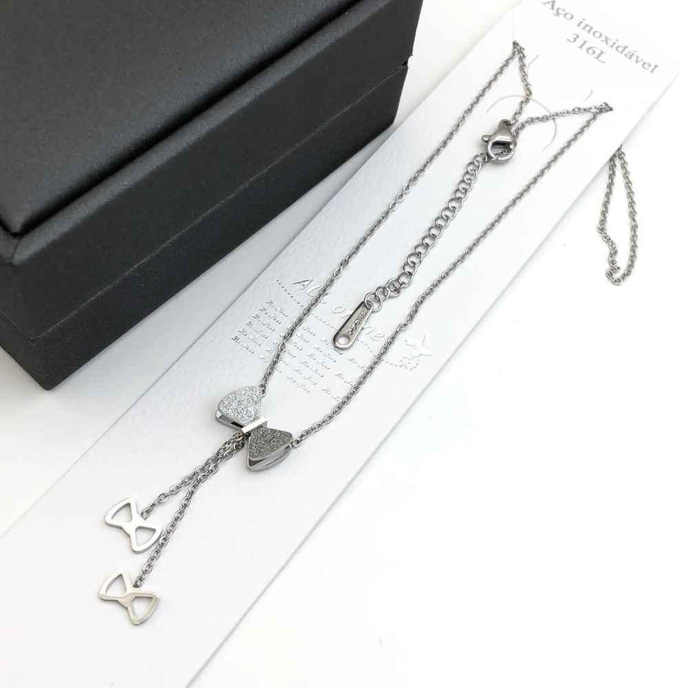 Colar feminino prata em aço inoxidável pingentes lacinho estilo gravatinha