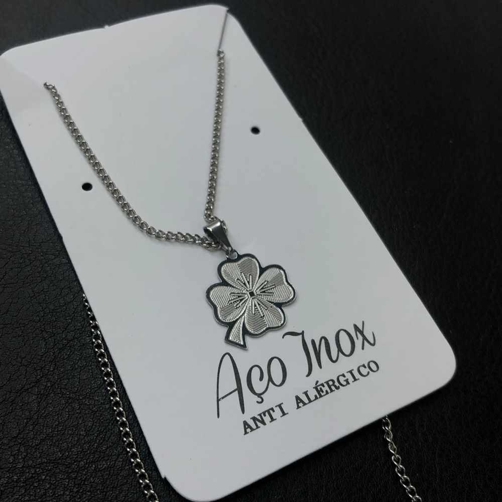 Colar feminino prata em aço inoxidável trevo da sorte, trevo de quatro folhas