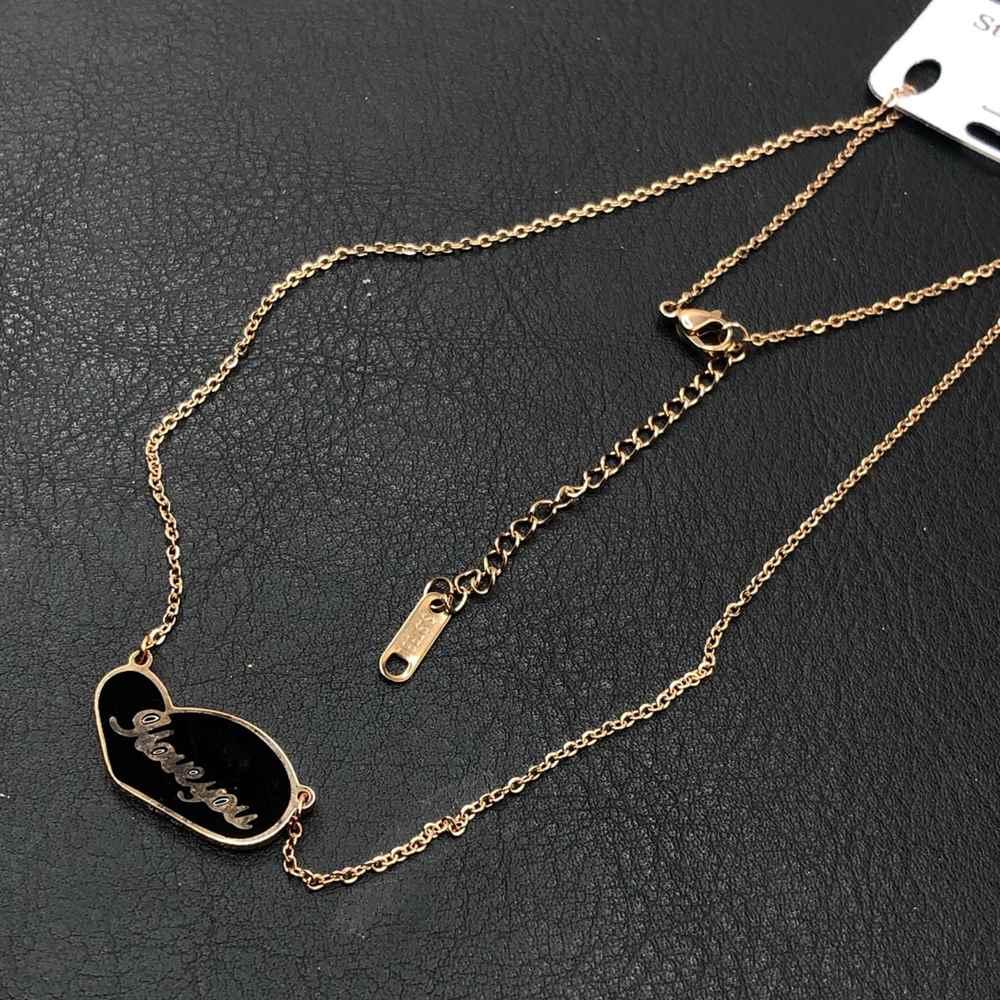 Colar feminino rose em aço inoxidável coração preto Iloveyou