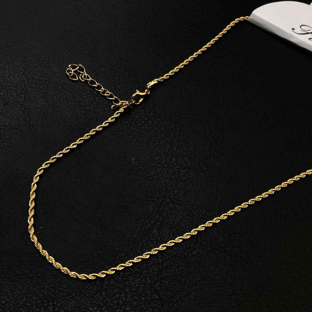 Colar folheado a ouro feminino cordão baiano 2mm