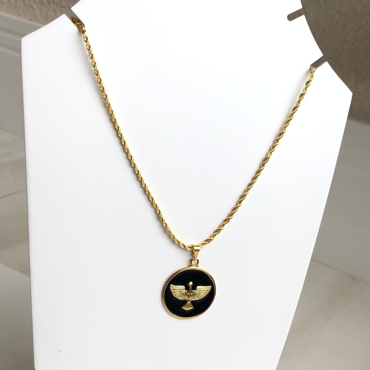 Colar folheado a ouro feminino cordão baiano Espíritoa Santo esmaltado preto liso