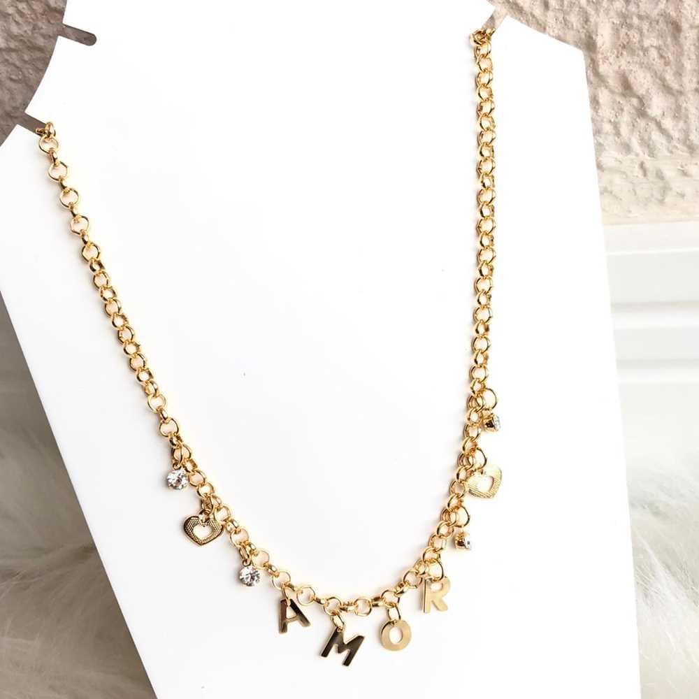 Colar folheado a ouro feminino correntaria elos Amor, ponto de luz e coração