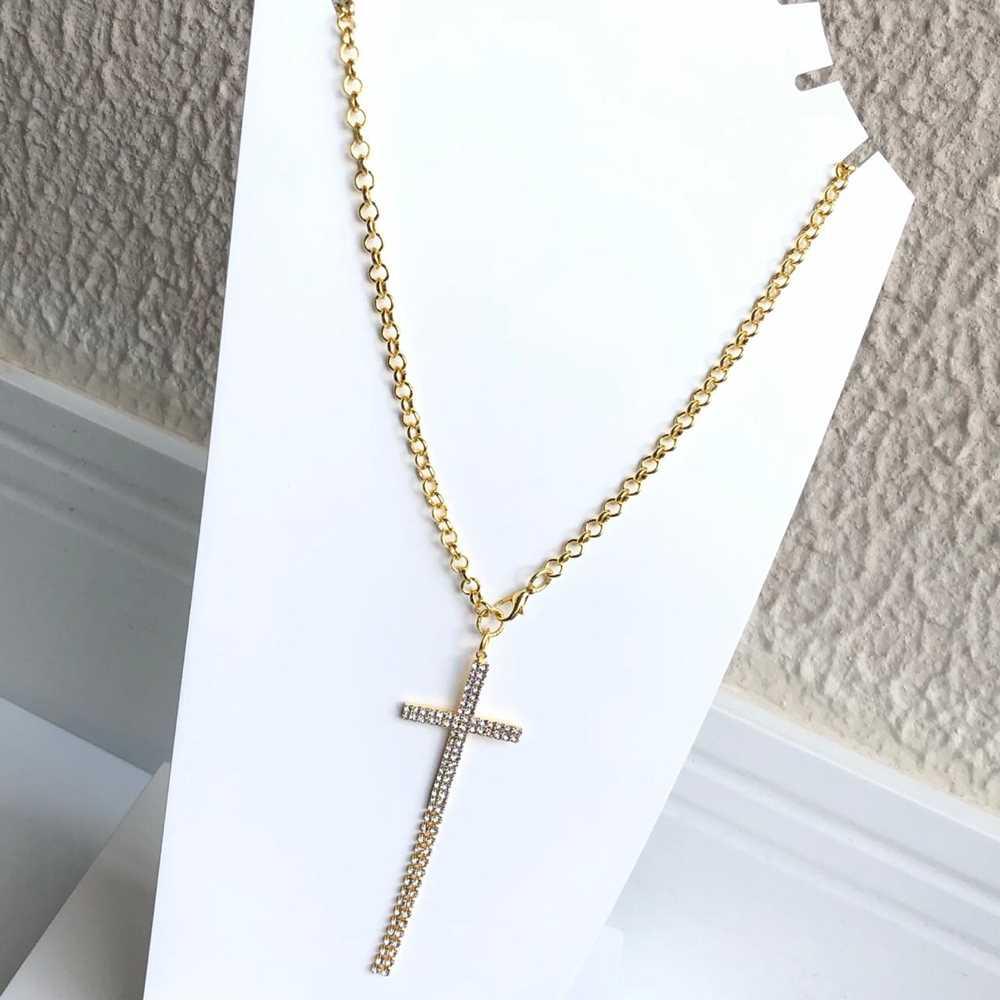 Colar folheado a ouro feminino correntaria elos pingente cruz franja cravejada