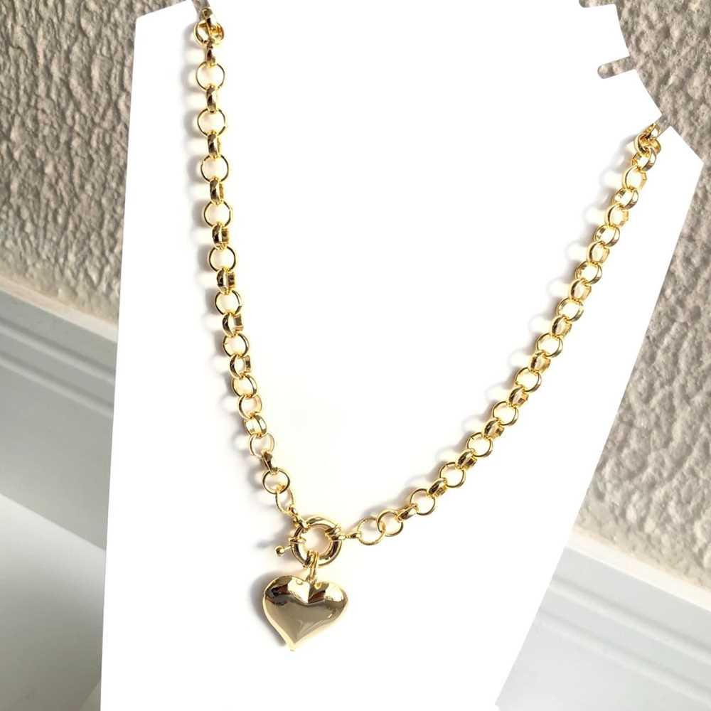 Colar folheado a ouro feminino correntaria elos português pingente coração e fecho boia