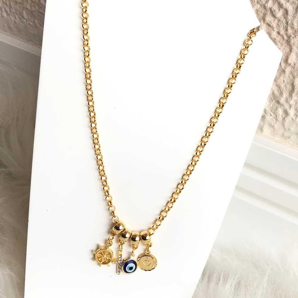 Colar folheado a ouro feminino correntaria elos volante navio, cruz, e olho grego