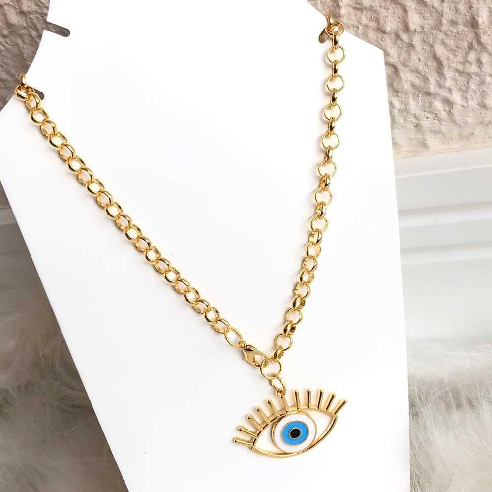 Colar folheado a ouro feminino correntaria olho grego