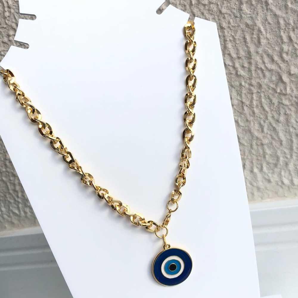 Colar folheado a ouro feminino correntaria olho grego redondo azul marinho