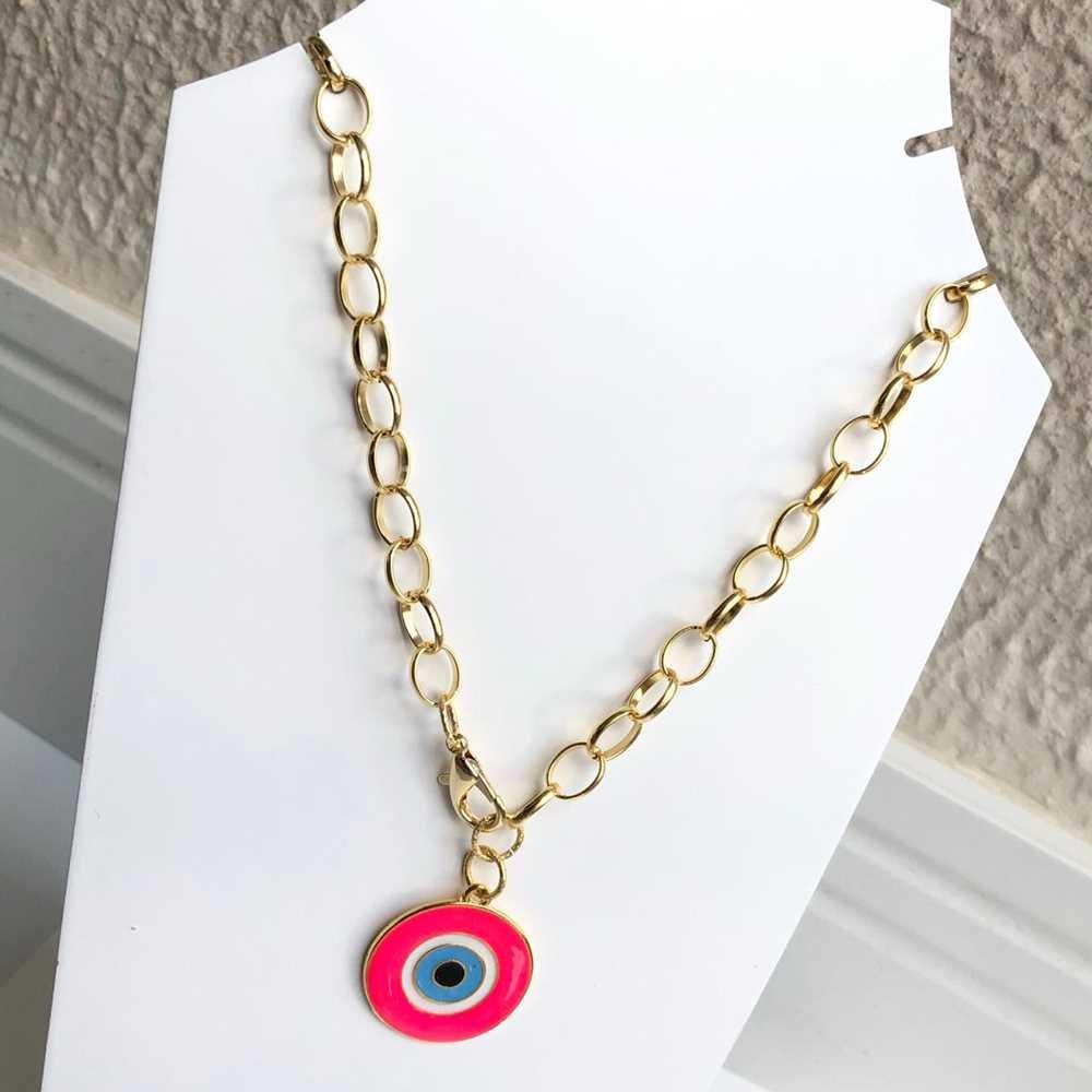 Colar folheado a ouro feminino correntaria olho grego redondo rosa pink