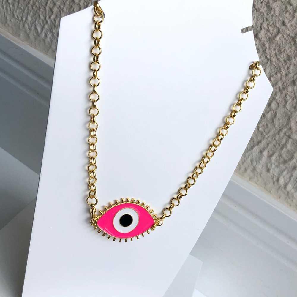 Colar folheado a ouro feminino correntaria olho grego rosa pink