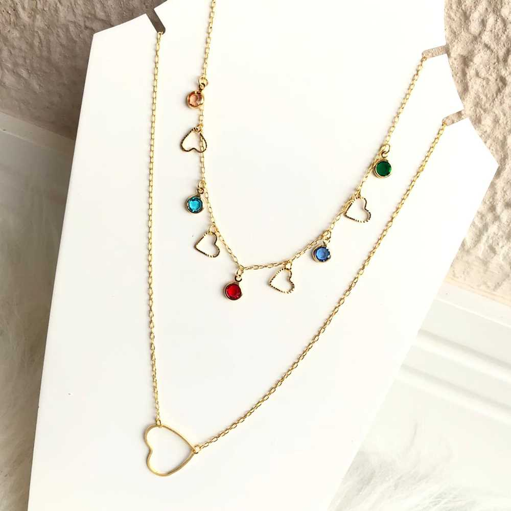 Colar folheado a ouro feminino duplo coração e pedrarias colorful